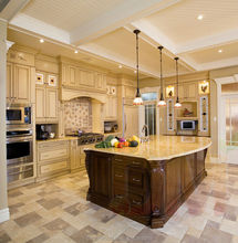 China factory price Beige kitchen cabinet design with a kitchen island