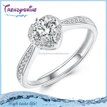 Fashion heart design bridal's pave crystal big ring 925