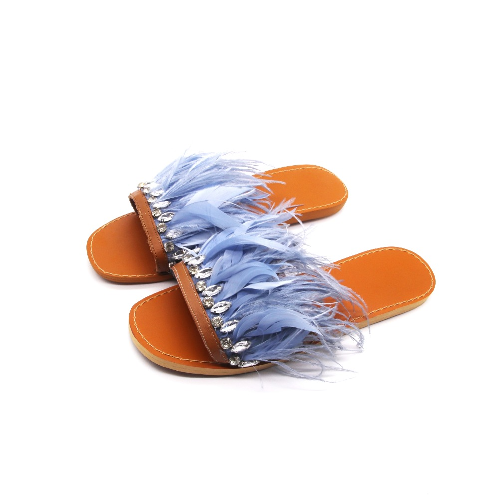 Womens Luxury Feather Flat <strong>Sandals</strong> Slide Slippers