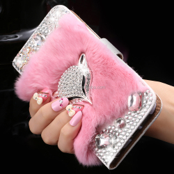 2016 trend product Fox Head Rabbit Hair Fur Phone Case For iPhone 6 Crystal Leather Case for Russia girl