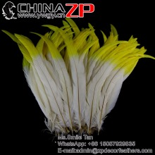 ZPDECOR Selected High Quality 30-35cm Yellow White Two Tone Color Cock Tail Rooster Carnival Feathers