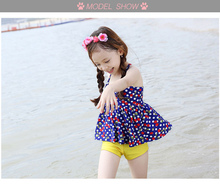 New model children swimming suit Cute baby swimwear 2 pcs dots Printed 3-9Y girls swimsuit for children Cute swimming suit