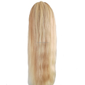 Factory Price lace front wigs Natural Straight real Brazilian virgin human hair Color 613/#27 22inch with baby hair