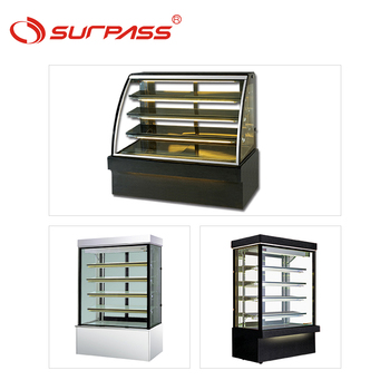 Curved glass showcase counter display cake refrigeration bakery