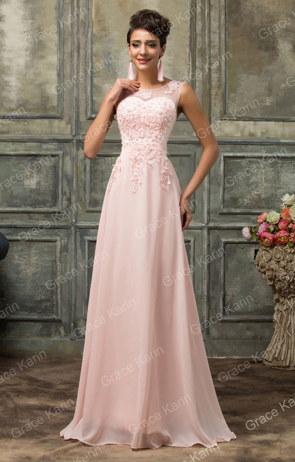 Grace Karin Sleeveless V-Back Light pink Chiffon Evening Gowns CL007555-1