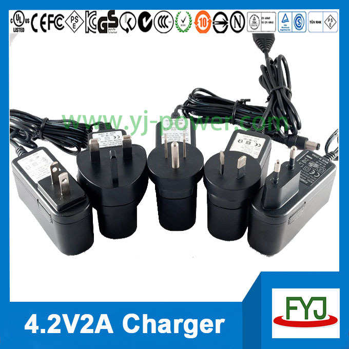 ul listed battery charger 4.2v 2a for rechargeable battery 18650 3.7v