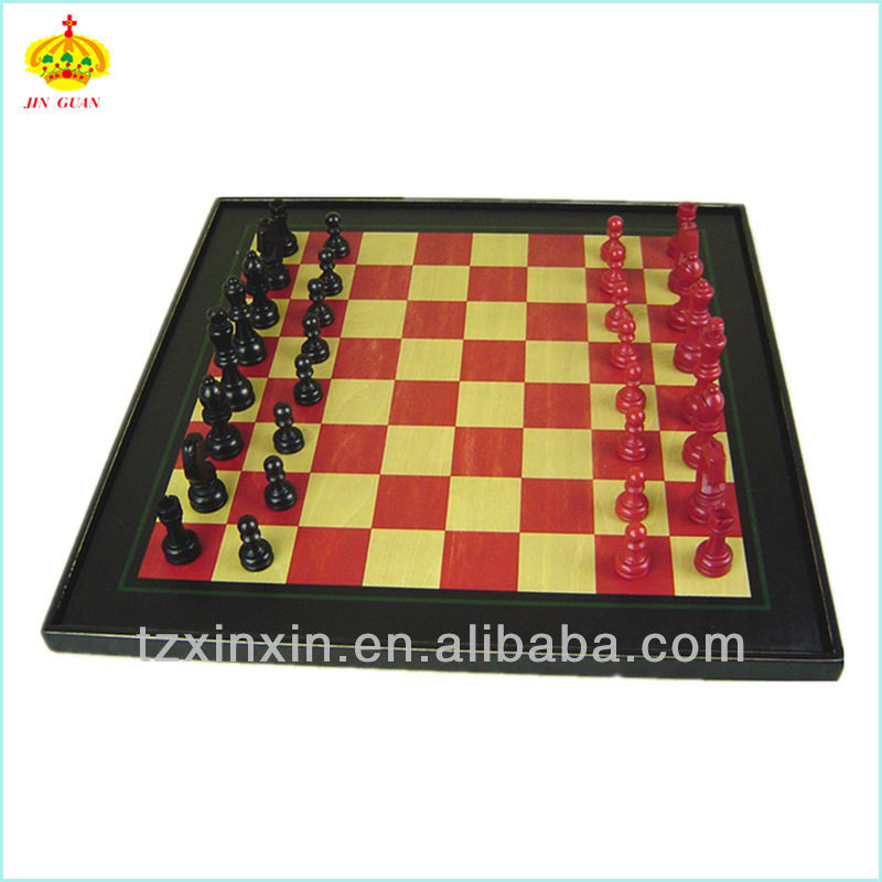 Giant Luxury Wooden Chess Board With Colorful Chess Pieces