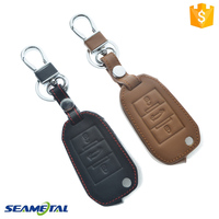 Car Leather Fold Remote Key Cover Case Holder For Peugeot 2008 3008 301 Auto Accessories