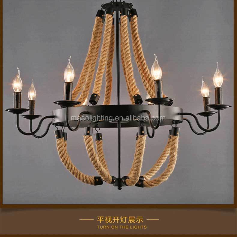 Hemp Rope Pendant Lamp American Farmhouse Vintage Candle Light Winery Bar Villa Hotel Resturant Decorative Rope Light Fixture