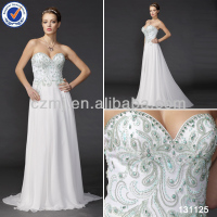 2014 elegant unique design beaded chiffon floor length sweetheart white wedding dress