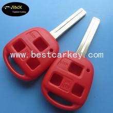 Topbest 3 button car key blanks TOY 48 in red no logo with sticker 40mm car key shell