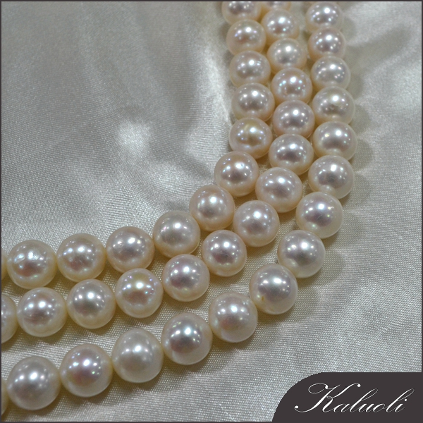 10-11mm near round AA freshwater white pearl strands