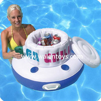 Inflatable Cooler Float,inflatable floating cooler ice cooler with 5-6 cup/drink holder