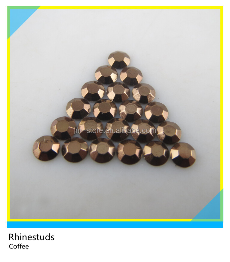 New Design Garment Accesories Aluminum Studs Hot Fix Flatback Coffee Color Rhinestuds Ss20 5mm