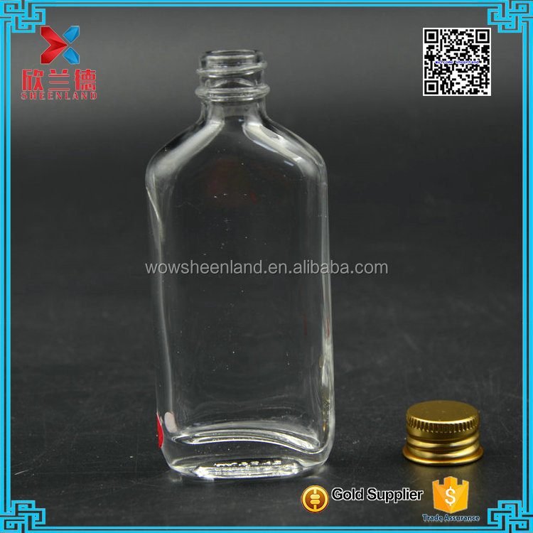 2017 flat shaped 50ml wholesale empty alcohol glass bottle for white spirits