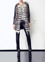 bg29837 Real Fox fur coat with sheep leather sleeve