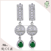 Vintage And Classical Green Color Diamond Drop Style 925 Sterling Silver Earring