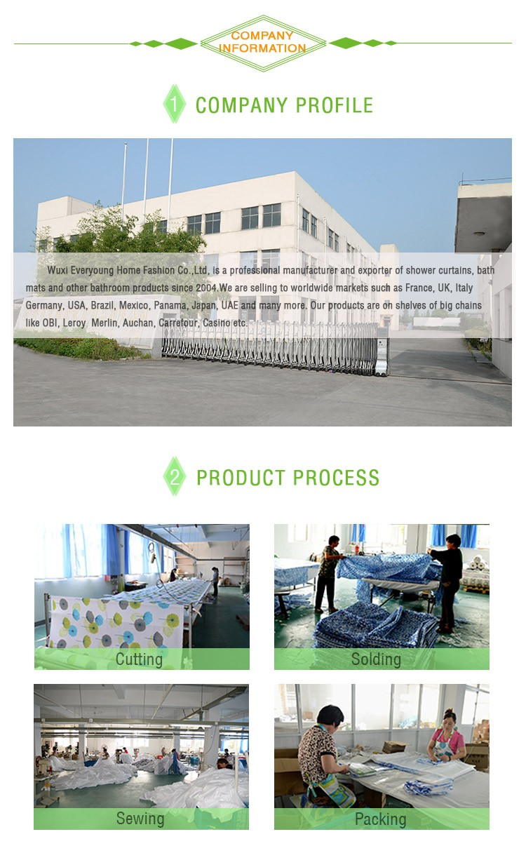 Environmental Friendly Customized Printed Hookless Shower Curtains