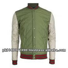 Custom Men baseball parrot green Quilted Satin Varsity Jackets with artificial leather sleeves