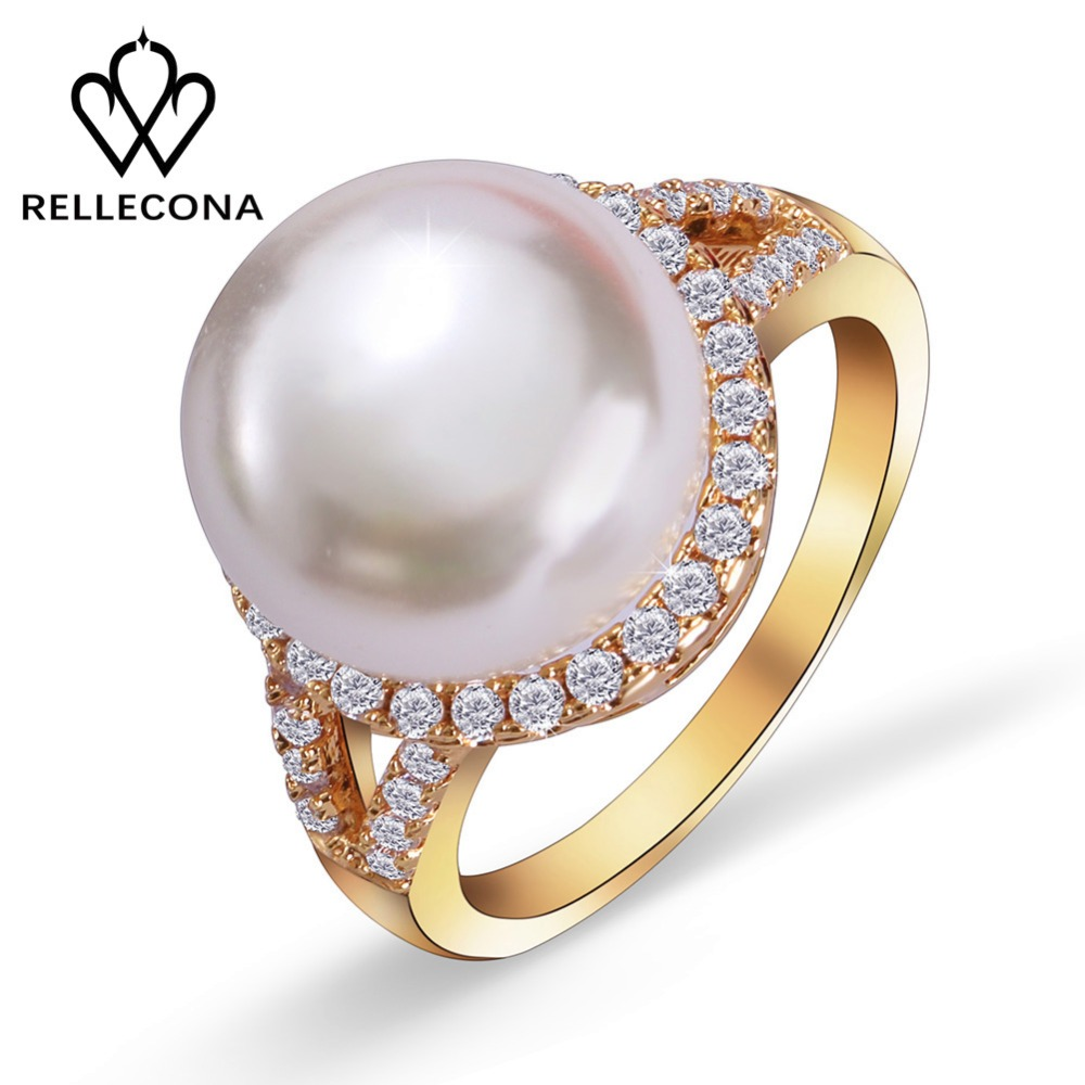 Noble latest design 18k gold plated wending gold ring with AAA Zircon big pearl for women's