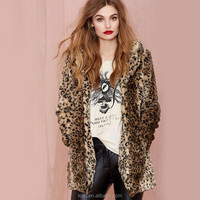 Winter Outerwear Plus Size S-3XL 2014 New Fashion Leopard Printed Winter Women's Faux Fur Coats Mink Fur Long Women Coat