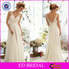White Chiffon V Neck Lace Bodice Low Back Western Wedding Bridesmaid Dresses(ED-BN43)