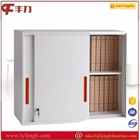 Half height wall design thin edge sliding metal door file cabinets