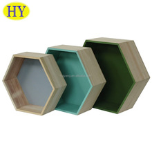 custom wall hanging decorative wooden hexagon box