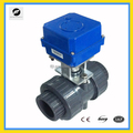 65mm DN50 PVC Ture Union/solvent weld motorized ball valve AC220V with manual override operation