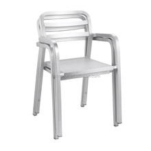 tubular armrest restaurant chair aluminum metal no fold stacking arm chair