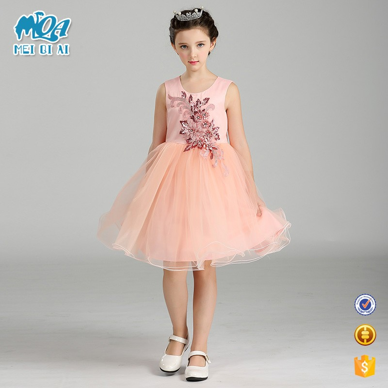 2017 Hot Style Baby Fashion Normal Frock Designs Small Girls Emboidered Prom Dress T467