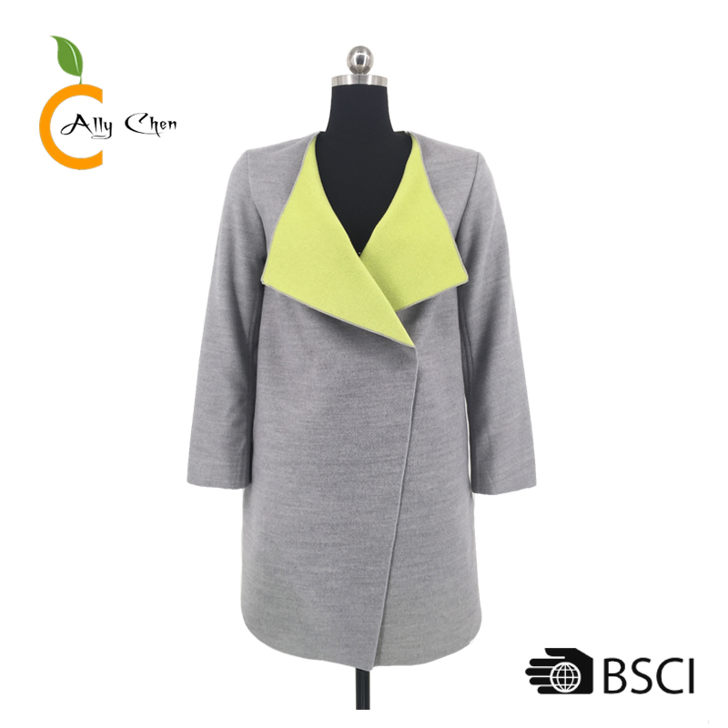 Double face contrast color design winter wool coat