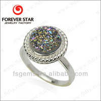 1R002150B Fashionable Fine Jewelry 925 Silver Rhodium Plated Natural Agate Druzy Ring Wholesale