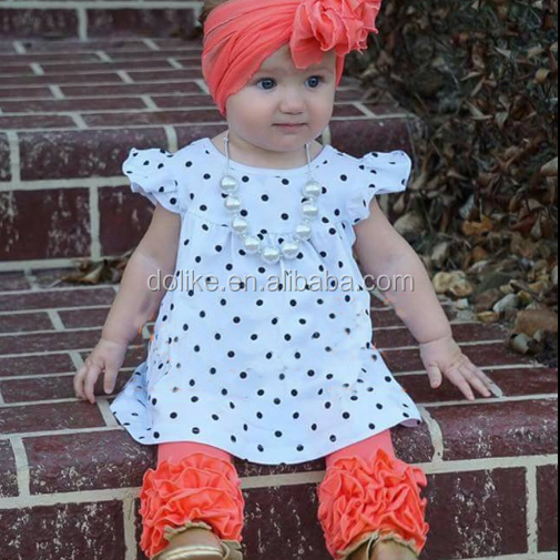 baby girl summer set watermelon outfit wholesale white with black dot boutique clothing