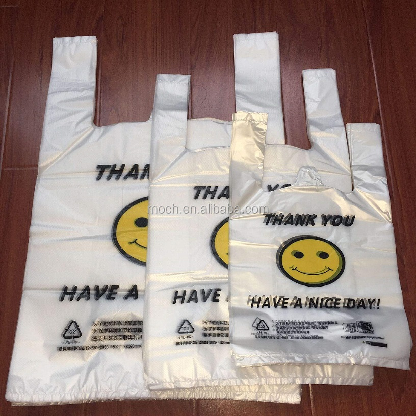 Biodegradable T Shirt Shopping Carrier Bag Printed Compostable Grocery Bag
