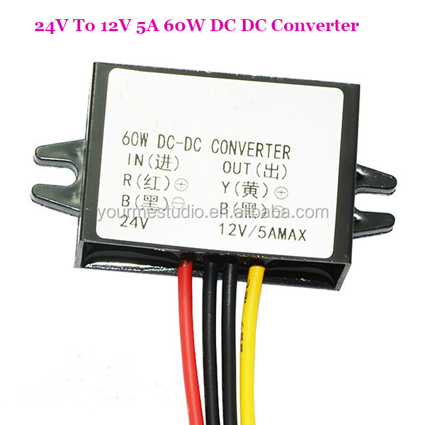 Good Quality 5A 60W Step Down DC 24V To 12V Converter For Car Audio Monitor