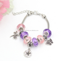 Newest Cheap Promotion Gift Women Ladies Bracelet, European Style Pink Purple Bead Insect Dragonfly Buttferfly Charm Bracelets