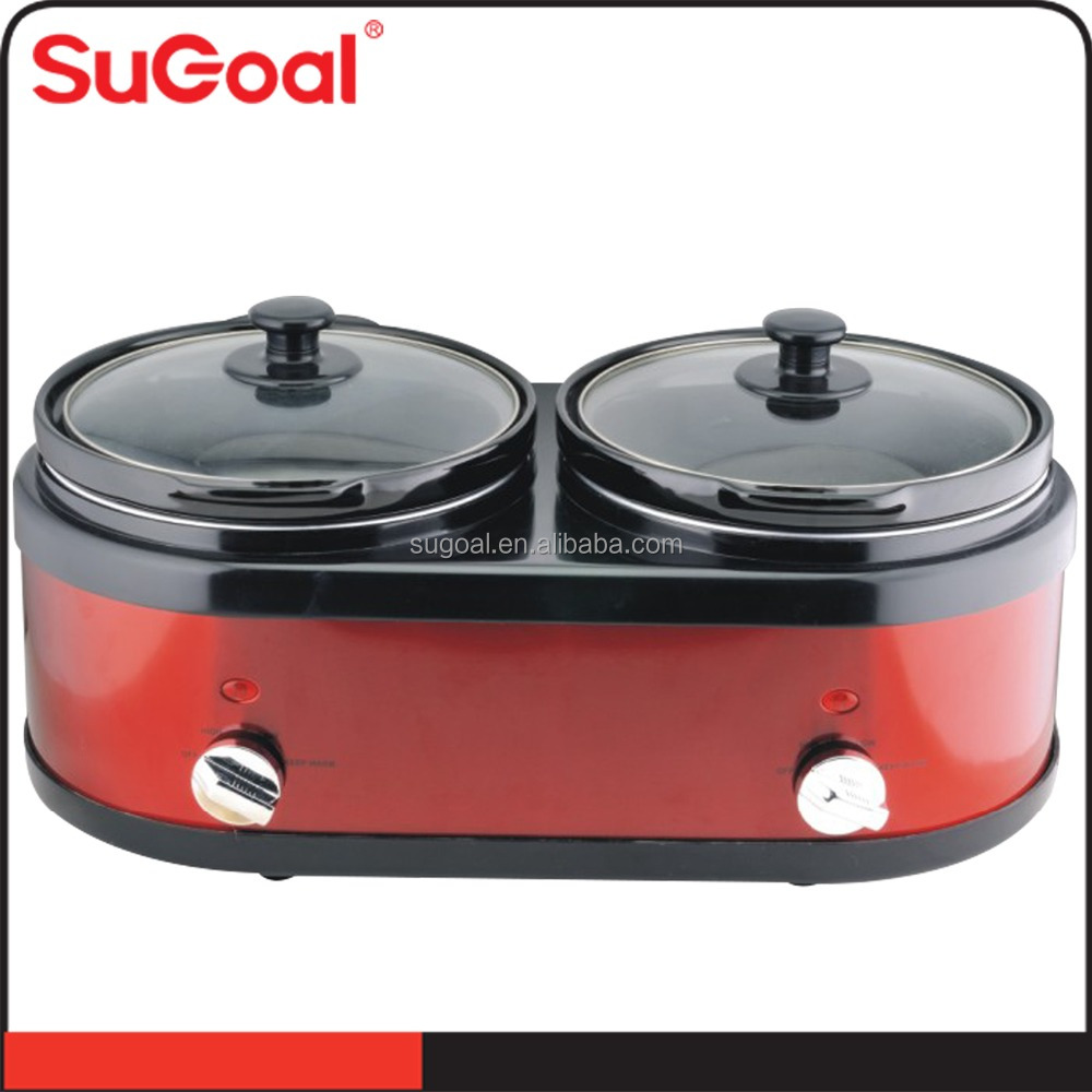 SuGoal Double Round Slow Cooker with Lid Holders, 2.5L X 2, Stainless Steel