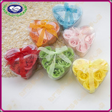 Wholesale love shaped 6 pcs rose flower soap for romantic gift