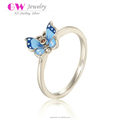 Fantastic Butterfly Blue Enamel Graduation Smart 925 Silver Ring