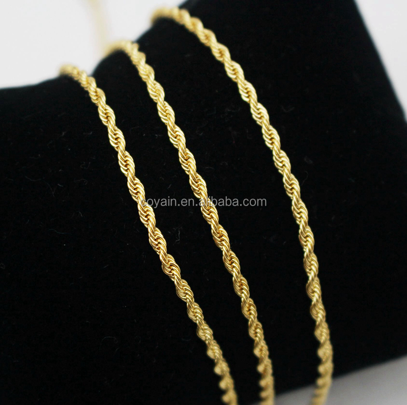 Women 2mm width small Rope Link Chain 316L stainless steel Twisted 18K Yellow Gold Plated Water Wave chain necklaces for pendant