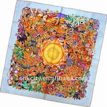 New Design Gift Fashion Silk Print magnetic scarf 90x90