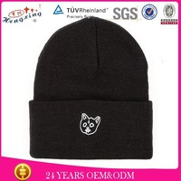 Kids free knitted embroidery beanie hat pattern sport beanie