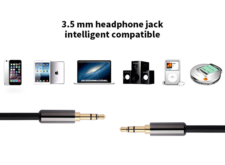 3.5mm Car Aux audio cable with Zinc alloy shell for Headphone, Mobile