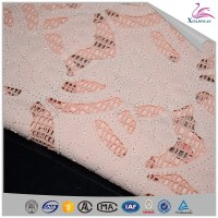 Unique pink chiffon special embroidery laser cutting fabric for dress