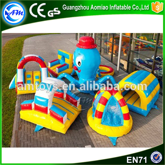 outdoor giant colorful octopus inflatable obstacle course equipment for kids for fun