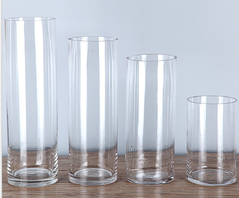 wholesale round cheap clear cylinder glass  vase