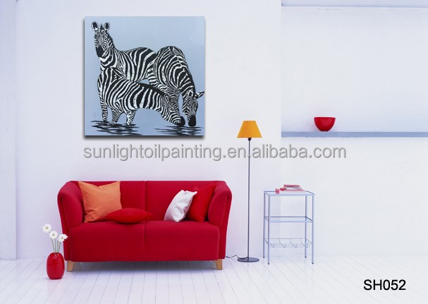 High Quality Paintings Home Decoration Handmade Zebra painting Art Wall Oil Painting on canvas SH052