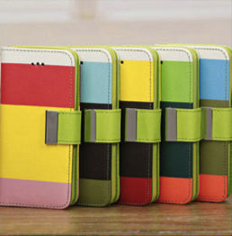 New Fashion Hit Color Magnetic Stand Flip Leather Wallet Case For iPhone 5C