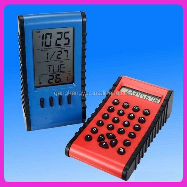 LCD table alarm clock, calender calculator ,clock with thermometer